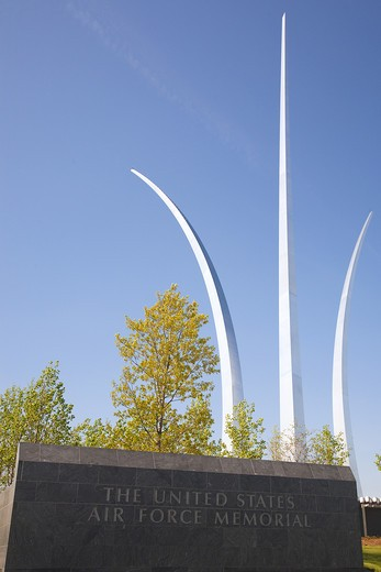 Stock Photo: 1323-911 Spire sculptures at a memorial, United States Air Force Memorial, Arlington, Virginia, USA