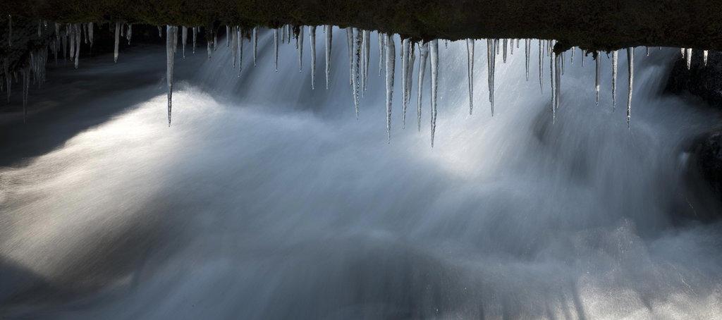 Stock Photo: 1323-981 Close-up of icicles formation, Tumalo Creek, Oregon, USA