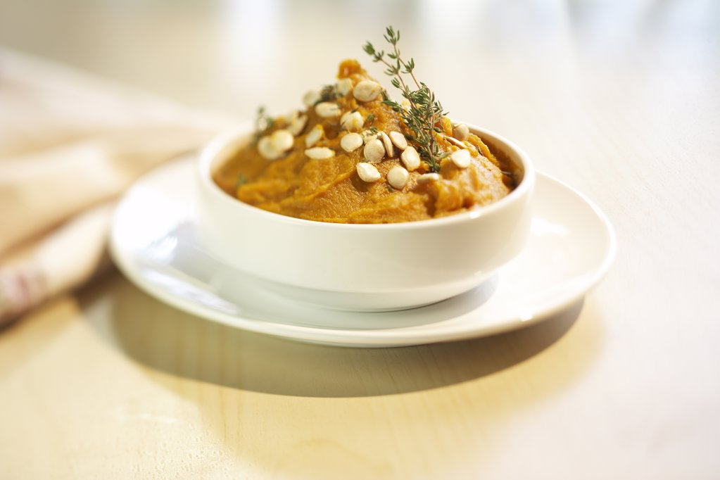 Stock Photo: 1329-1018 Close-up of pumpkin squash soup in a bowl