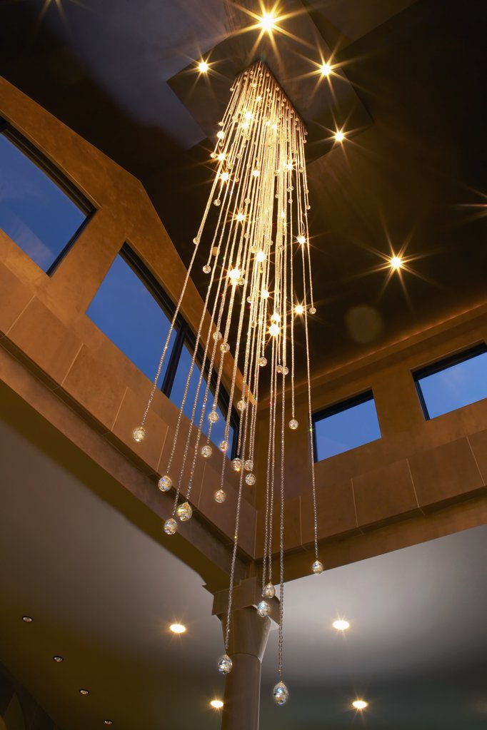 Low angle view of a modern chandelier : Stock Photo