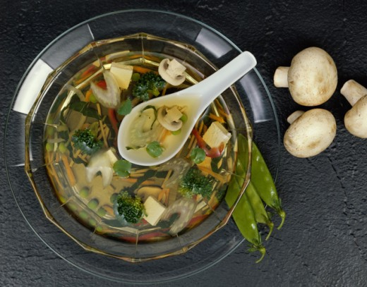 High angle view of soup in a bowl : Stock Photo