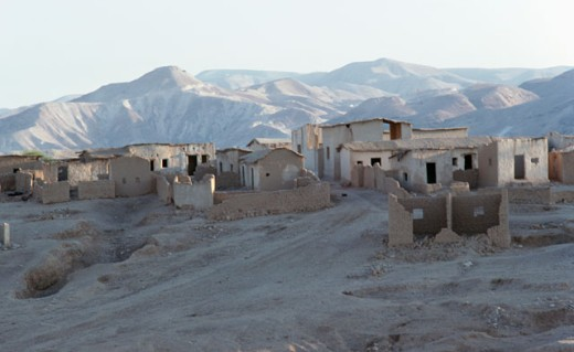 Buildings near a mountain range, Jordan : Stock Photo