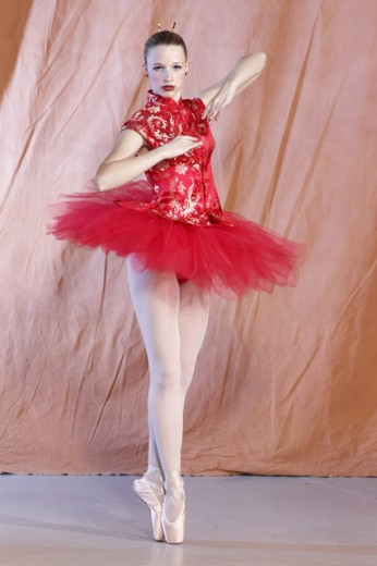 Portrait of a young ballerina performing : Stock Photo