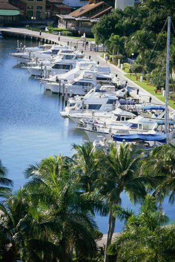 Stock Photo: 1329R-777 Boats docked at a port, Aventura, Florida, USA