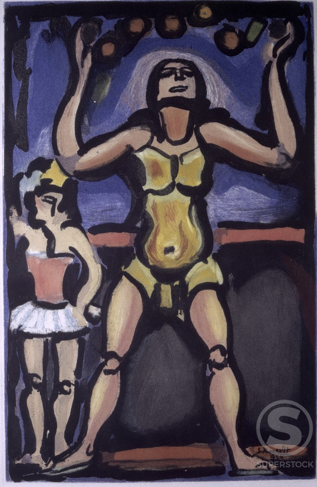 Stock Photo: 1330-1027 Circus Of The Shooting Star, No. 5 by Georges Rouault, 1938, 1871-1958