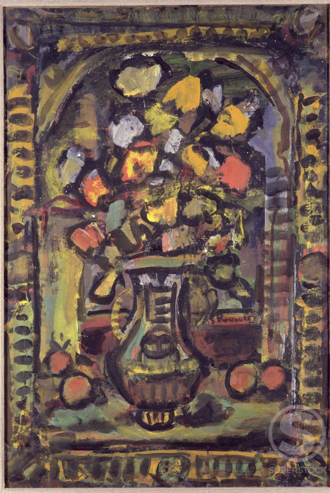 Decorative Flowers by Georges Rouault, 1953, 1871-1958, France, Paris, Private Collection : Stock Photo