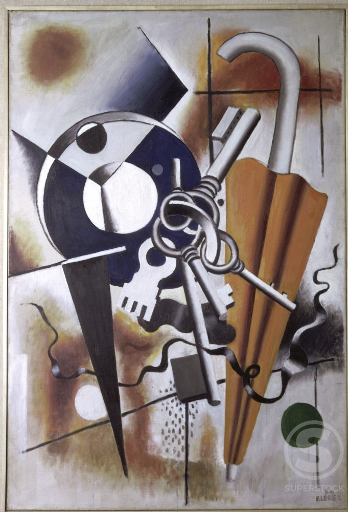 Stock Photo: 1330-1044 Composition With Umbrella by Fernand Leger, 1932, 1881-1955, France, Paris, Louise Leiris Gallery