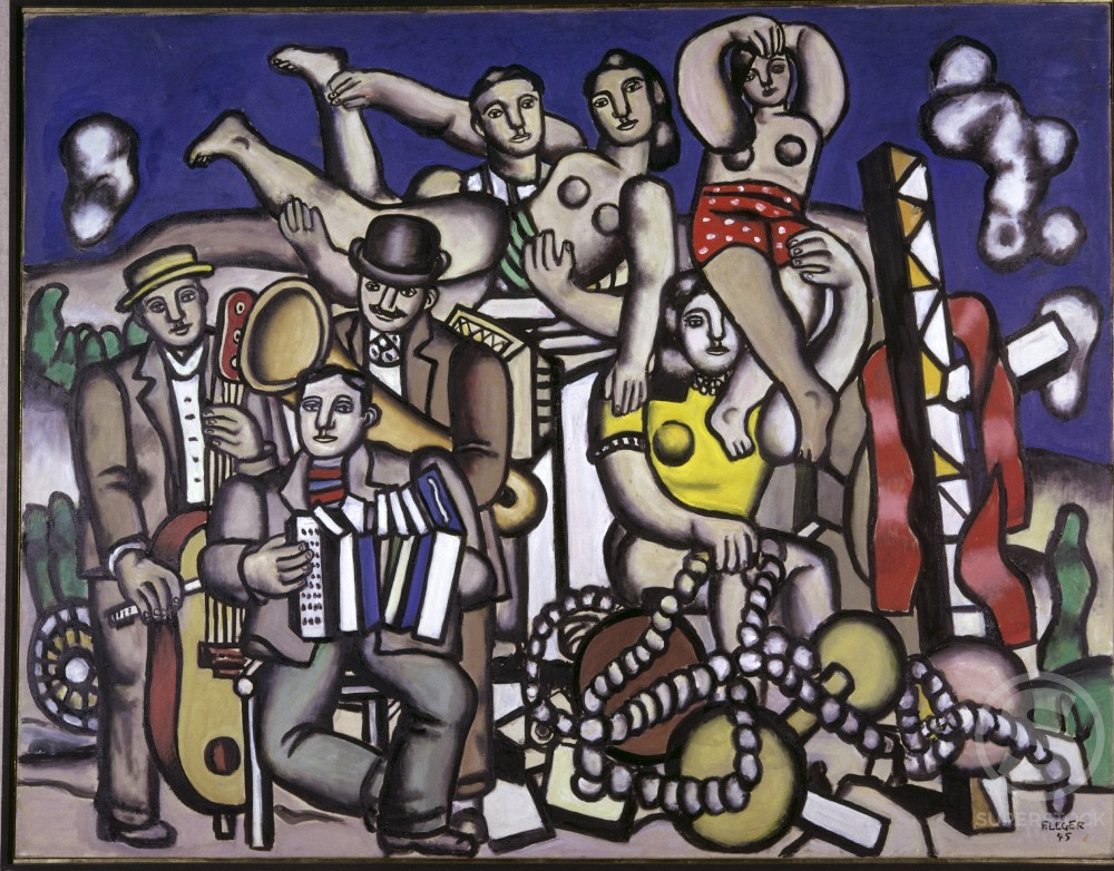 Stock Photo: 1330-1052 Acrobats and Musicians by Fernand Leger, 1945, 1881-1955, Venezuela, Caracas, Sofia Imber Museum of Modern Art