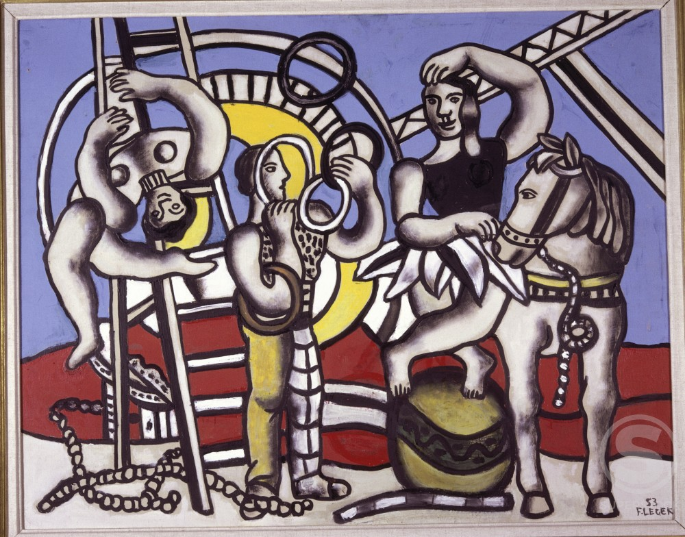 The Black Rider On Blue Background by Fernand Leger, 1953, 1881-1955, France, Paris, Louise Leiris Gallery : Stock Photo
