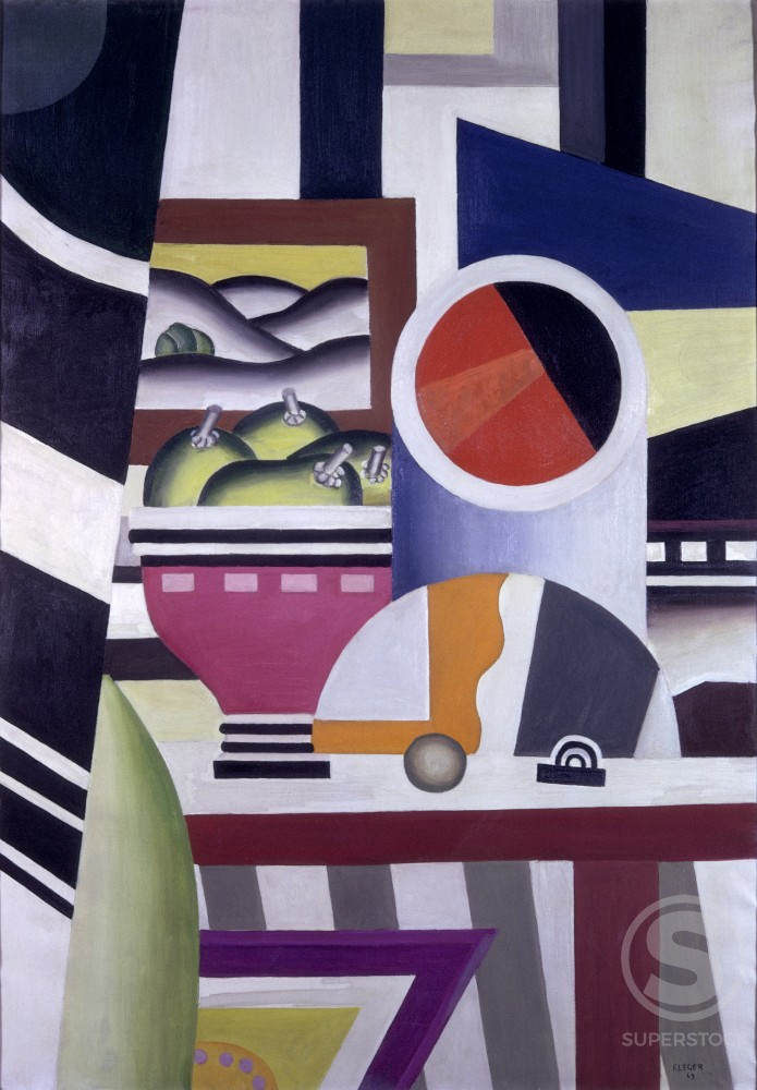 Stock Photo: 1330-1070 Still Life With Fruit Bowl by Fernand Leger, 1923, 1881-1955, France, Villeneuve d' Ascq, Museum of Modern Art