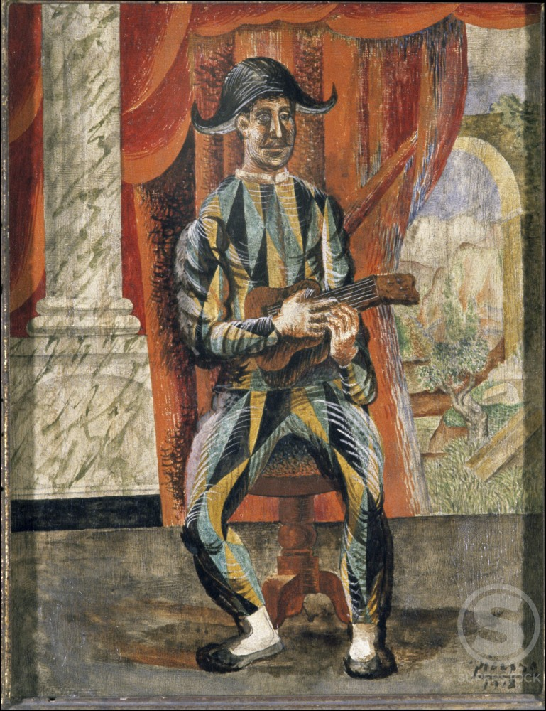 Stock Photo: 1330-1088 Harlequin With Guitar by Pablo Picasso, 1918, 1881-1973, France, Paris, Collection H. Berggruen