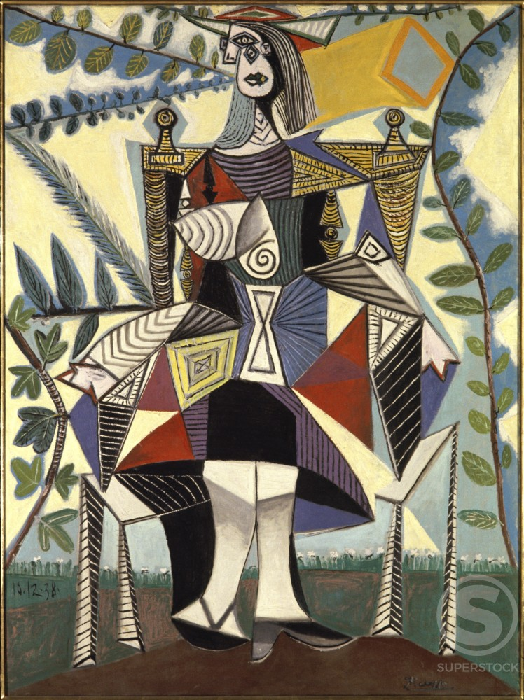 Stock Photo: 1330-1117 Woman In Garden by Pablo Picasso, Oil painting, 10 December 1938, 1881-1973, USA, New York State, New York City, Collection Saidenberg