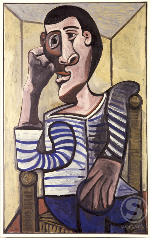 Stock Photo: 1330-1127 Sailor by Pablo Picasso, Oil painting, 23 October 1943, 1881-1973, USA, New York State, New York City, Collection of Victor Ganz