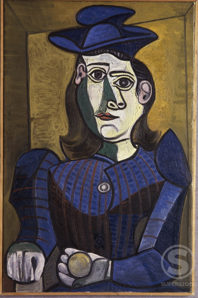 Stock Photo: 1330-1130 Woman In Blue Hat by Pablo Picasso, Oil painting, 7 March 1944, 1881-1973
