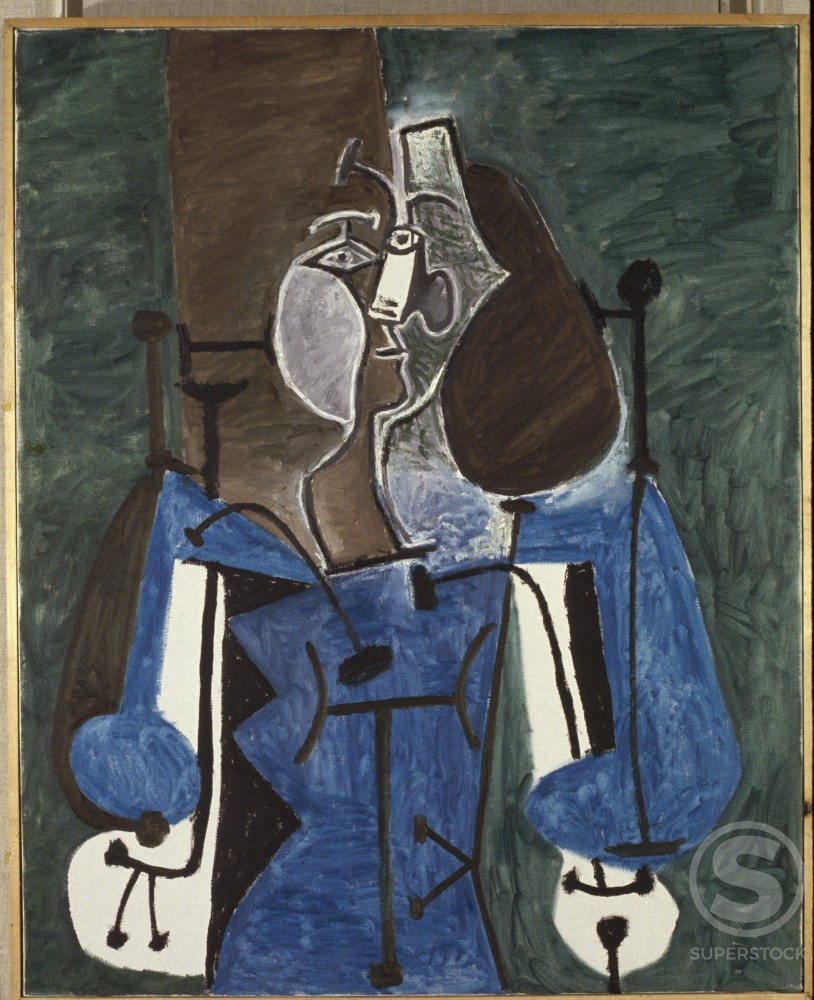 Stock Photo: 1330-1132 Woman In Armchair by Pablo Picasso, Oil painting, 27 March 1949, 1881-1973