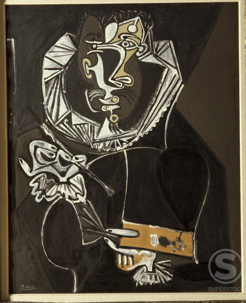 Stock Photo: 1330-1133 Portrait of Painter as El Greco by Pablo Picasso, Oil on wood panel, 22 February 1950, 1881-1973, Switzerland, Lucern Galerie, Rosengart Collection