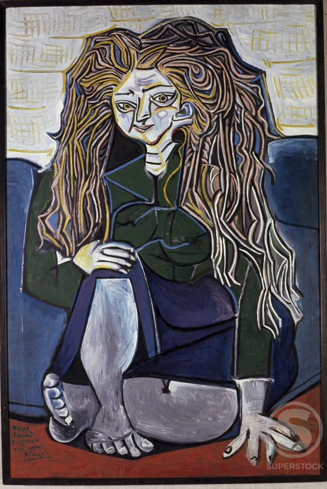 Stock Photo: 1330-1136 Portrait Of Mademoiselle H. P. by Pablo Picasso, Oil painting, 1952, 1881-1973, France, Paris, Collection of Edourd Pignon