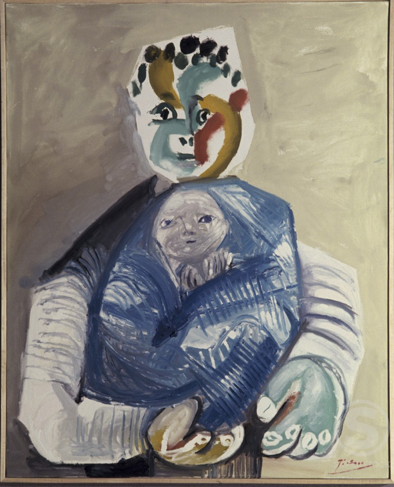Stock Photo: 1330-1156 Man and Child by Pablo Picasso, Oil painting, 22 February 1965, 1881-1973, France, Paris, Louise Leiris Gallery