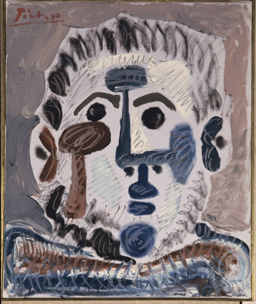 Stock Photo: 1330-1159 Head Of Man by Pablo Picasso, Oil painting, 13 June 1965, 1881-1973, France, Paris, Louise Leiris Gallery