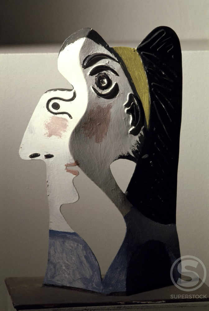 Head Of Woman by Pablo Picasso, Sheet metal, 1962, 1881-1973 : Stock Photo
