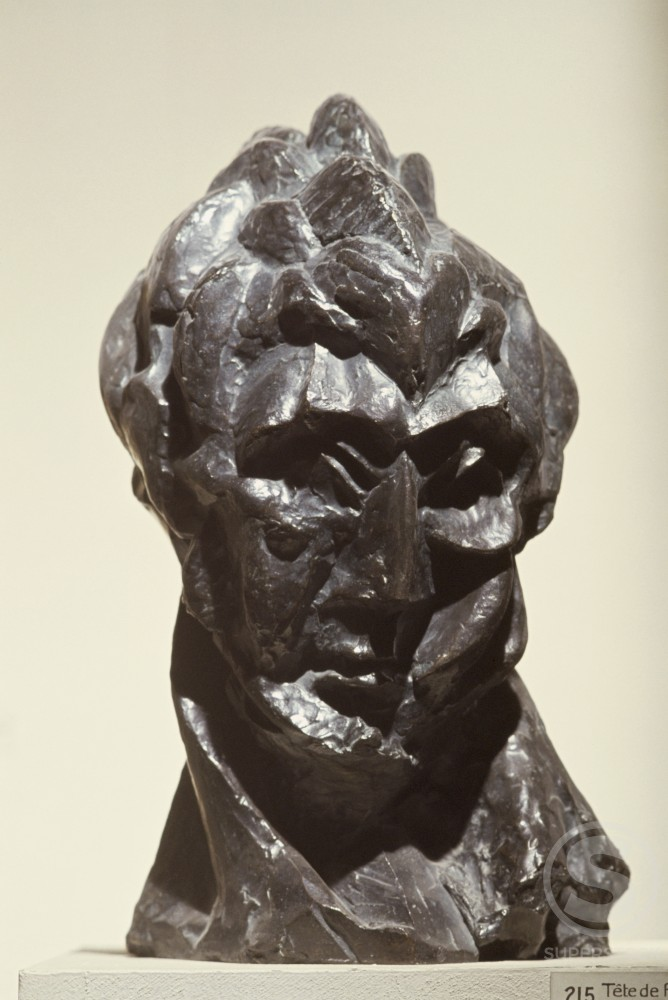 Stock Photo: 1330-1181 Head Of Woman by Pablo Picasso, Bronze, 1909, 1881-1973