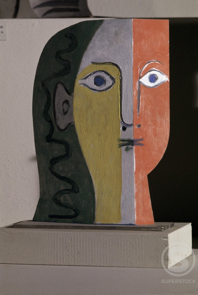 Head Of Woman by Pablo Picasso, Sheet metal, 1961, 1881-1973 : Stock Photo