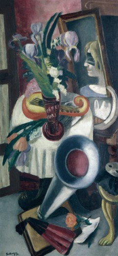 Stock Photo: 1330-1198 Still Life With Gramophone and Iris by Max Beckmann, Oil on canvas, 1924, 1884-1950, Private Collection