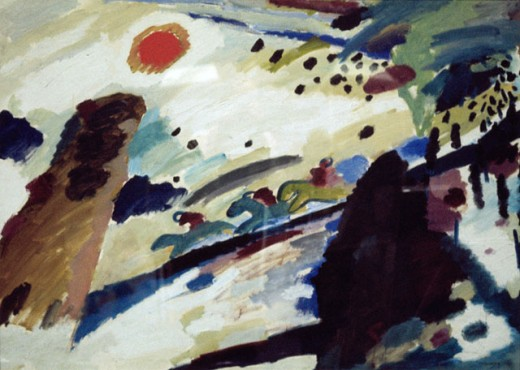 Stock Photo: 1330-1244 Romantic Landscape by Vasily Kandinsky, 1911, 1866-1944, Germany, Munich, Stadtische Galerie im Lenbachhaus