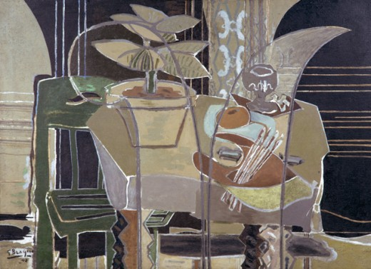 Stock Photo: 1330-1259 Interior With Palette by Georges Braque, 1942, 1882-1963, USA, Texas, Houston, Menil Collection