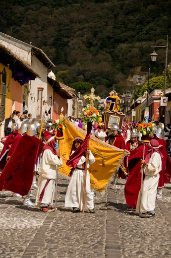 Stock Photo: 1336-1124 First Sunday of Lent Procession, Antigua, Guatemala