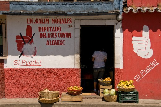 Fruits and vegetables outside a store, Antigua, Guatemala : Stock Photo