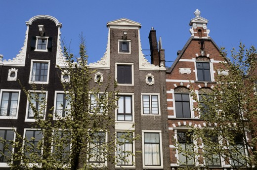 Facade of a building, Amsterdam, Netherlands : Stock Photo