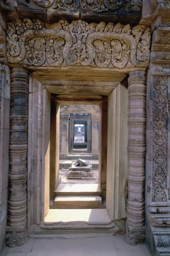 Stock Photo: 1336-924 Doorway of a temple, Banteay Srei, Cambodia