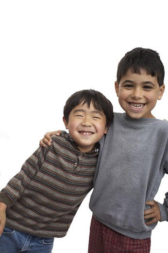 Close-up of two boys smiling : Stock Photo