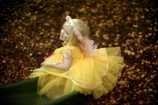 Stock Photo: 1337-113 High angle view of a girl dressed in a fairy costume playing in a playground