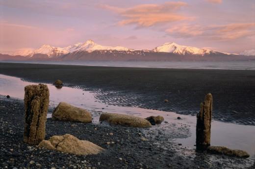Cook Inlet Kenai Mountains Alaska USA : Stock Photo