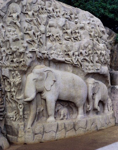 Close-up of carvings on a rock, Arjuna's Penance, Mahabalipuram, Tamil Nadu, India : Stock Photo