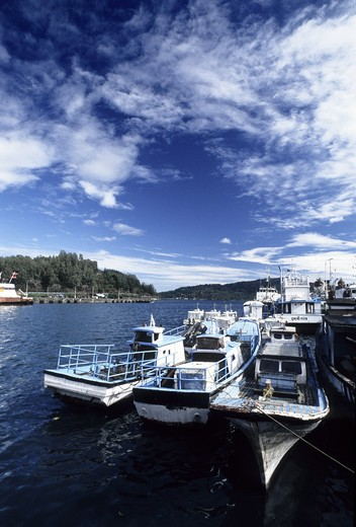 Stock Photo: 1340-1202 Ships at a jetty, Phoenix Bay Jetty, Phoenix Bay, Port Blair, Andaman and Nicobar Islands, India
