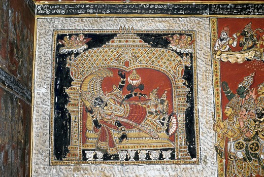 India, Tamil Nadu, murals in Bodinayakanur palace, 18th century : Stock Photo