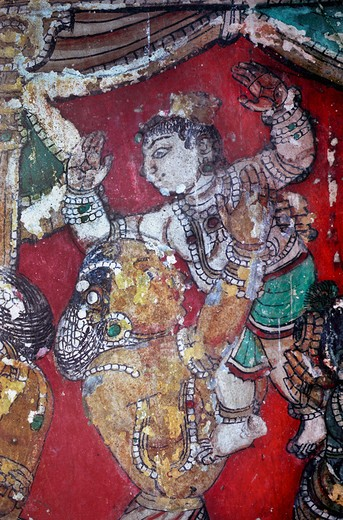 Stock Photo: 1340-1229 India, Tamil Nadu, Ramanathapuram (Ramnad), murals in Sethupaty Raja palace, 18th century