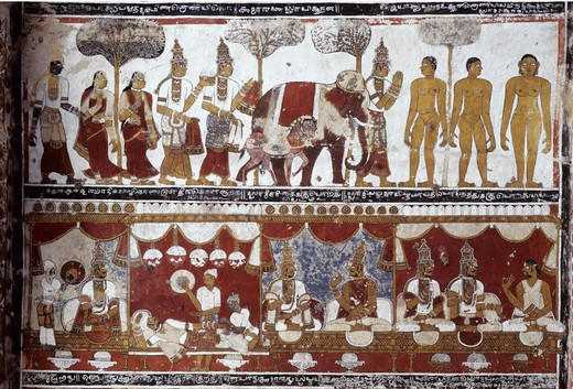 India, Tamil Nadu, Tiruparuthikunram, murals in Trailokyanatha Jeenaswami Temple, 15th century : Stock Photo