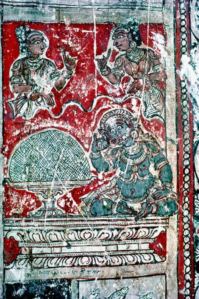 Stock Photo: 1340-1274 India, Tamil Nadu, Tirunelveli, Thiruppudaimarudur temple, murals in Narumpoonathaswamy Temple, 17th century