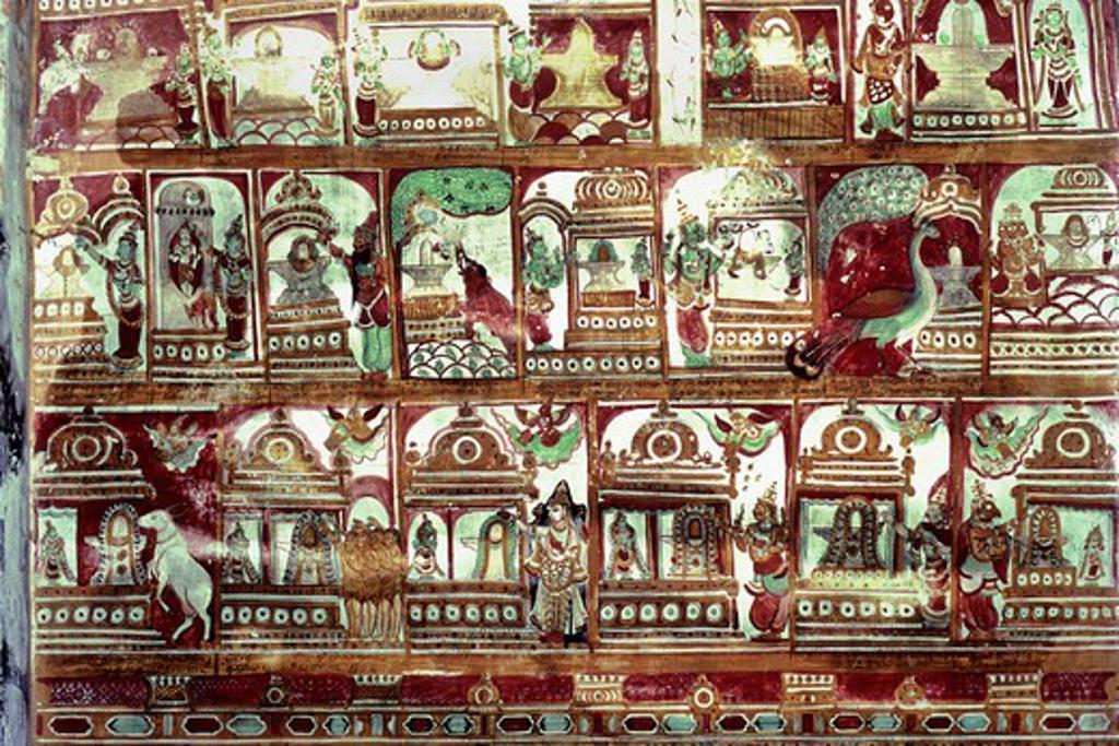 India, Tamil Nadu, Chidambaram, Nataraja temple, murals on Sabha mendap (Assembly Hall), 17th century : Stock Photo