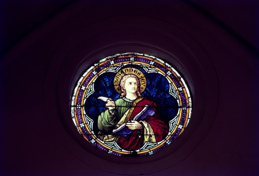 Stock Photo: 1340-1313 Stained glass in a church, Sacred Heart of Jesus Christ, Pondicherry, India