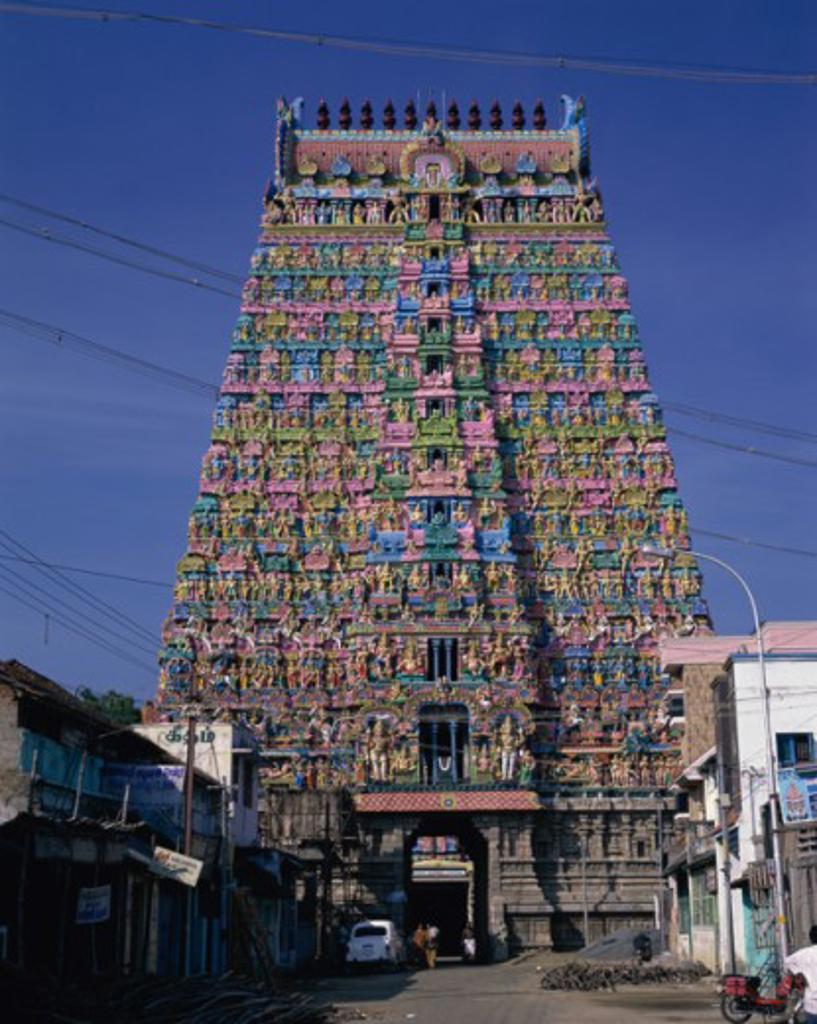 Stock Photo: 1340-173 Facade of a temple, Sarangapani Temple, Kumbakonam, Tamil Nadu, India