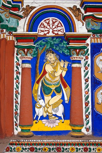 Lord Venugopala (Krishna). 150 year old Mural (vegetable dye) and stucco work on the interior wall of the temple choultry at Pillaiyarpatti, Tamil Nadu, India, Artist Unknown : Stock Photo