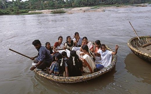 High angle view of tourists in a coracle, Kaveri River, Shrirangapattana, Karnataka, India : Stock Photo