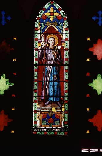 Stained glass window in a church, Sacred Heart Church, Pondicherry, India : Stock Photo