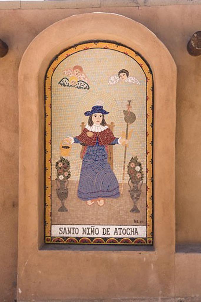 Mural on the wall of a church, El Santuario De Chimayo, Chimayo, Rio Arriba County, New Mexico, USA : Stock Photo