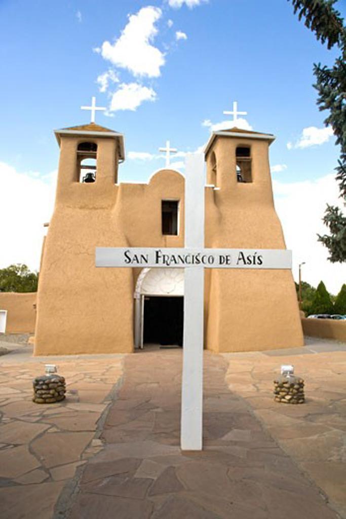 Stock Photo: 1341-2136 Facade of a church, San Francisco De Asis Church, Ranchos De Taos, Taos, Taos County, New Mexico, USA